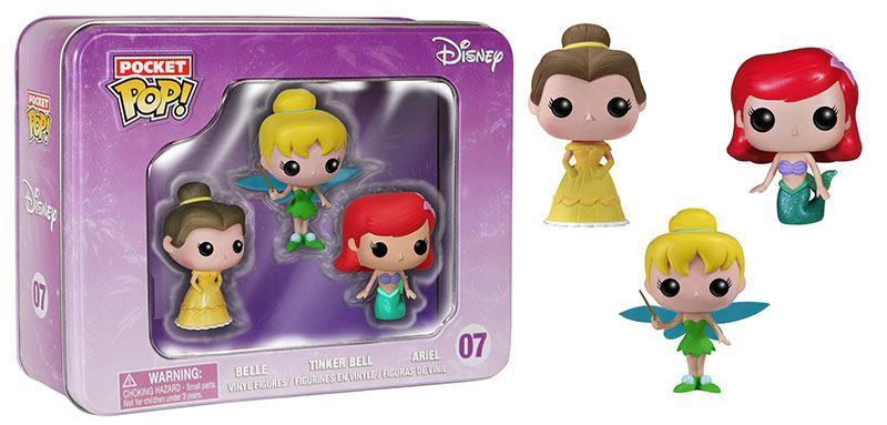 Disney Belle, Tinker Bell, and Ariel Funko Pocket Pops