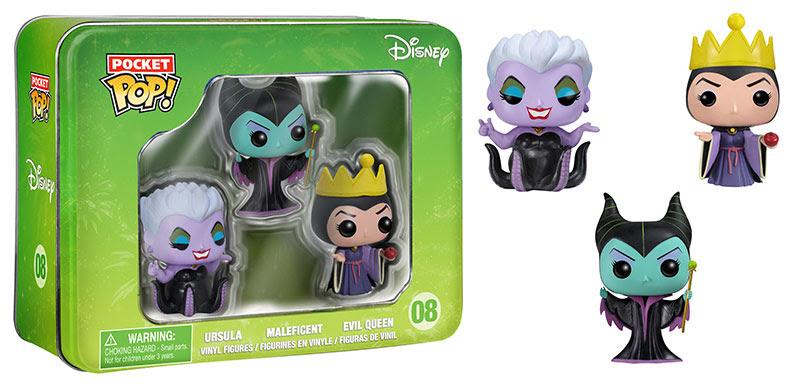 Disney Ursula, Maleficent, and Evil Queen Funko Pocket Pops
