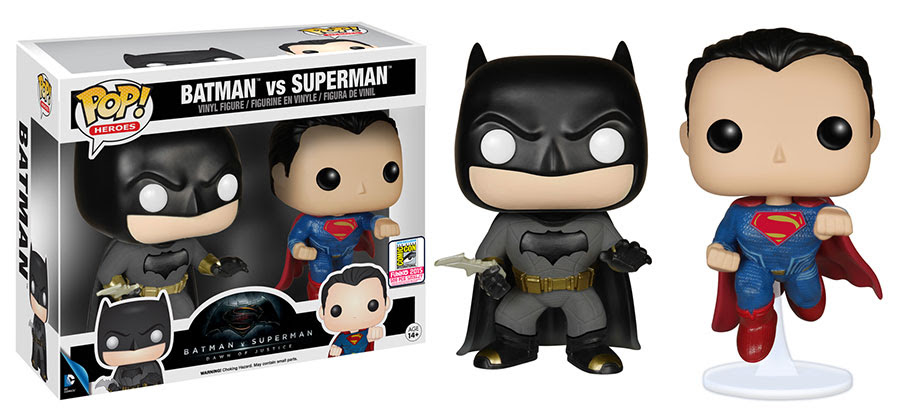 Funko Pop Heroes Batman v Superman 2-pack vinyl figures.
