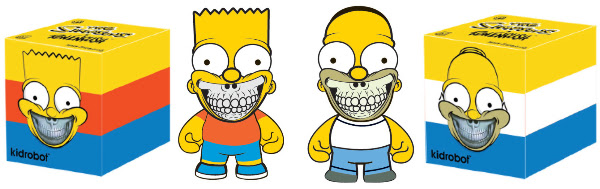 kidrobot Ron English Simpsons Bart Grin and Homer grin